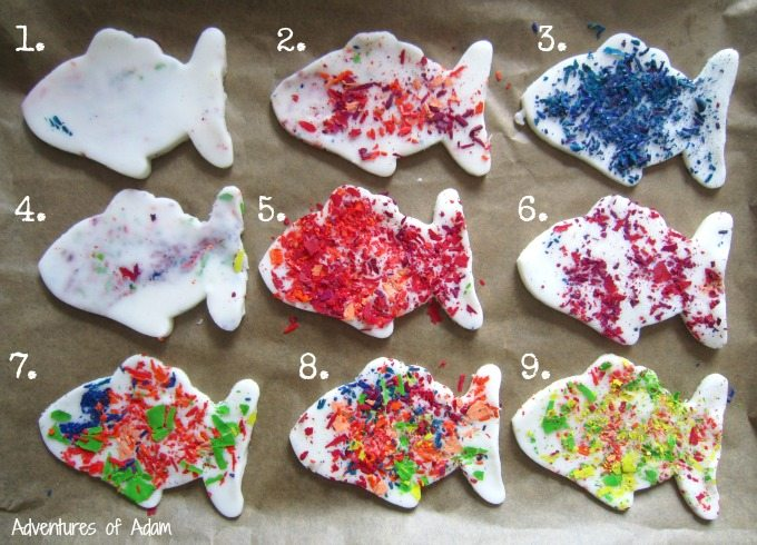 Making different types of wax crayon Rainbow Fish