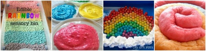 Sensory edible rainbow activities