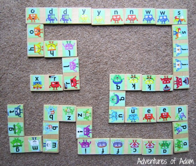 Homemade letter recognition dominoes