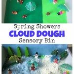 Spring Showers Cloud Dough Sensory Bin