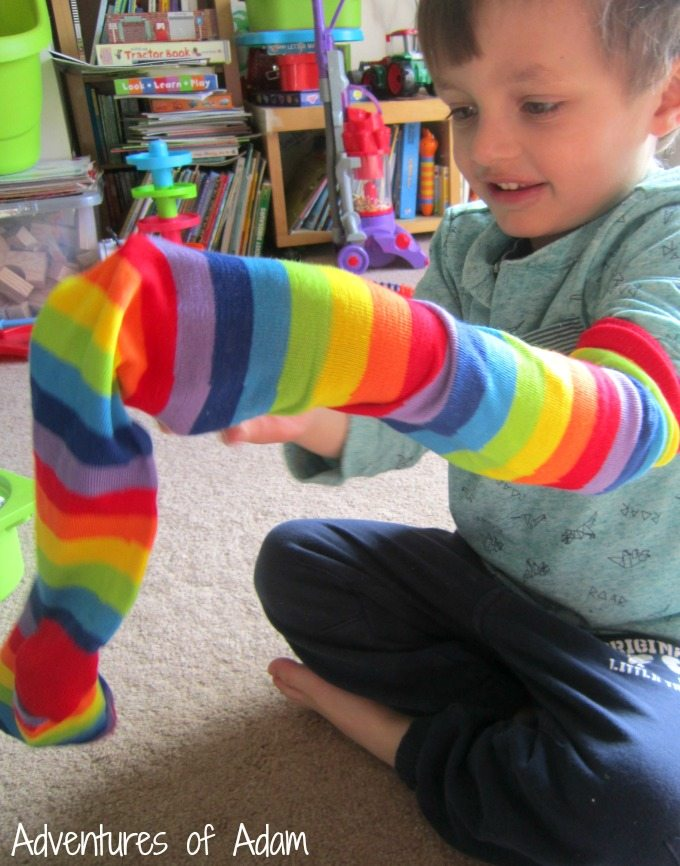 Toddler sock play activity