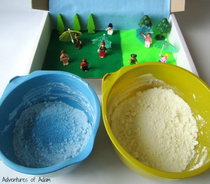 Weather cloud dough sensory bin