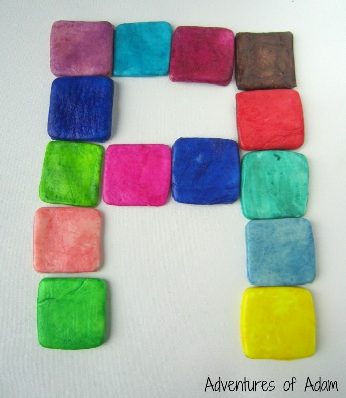 Letter formation using DIY clay tiles