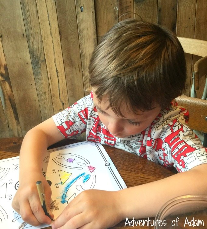 Colouring in at Nandos