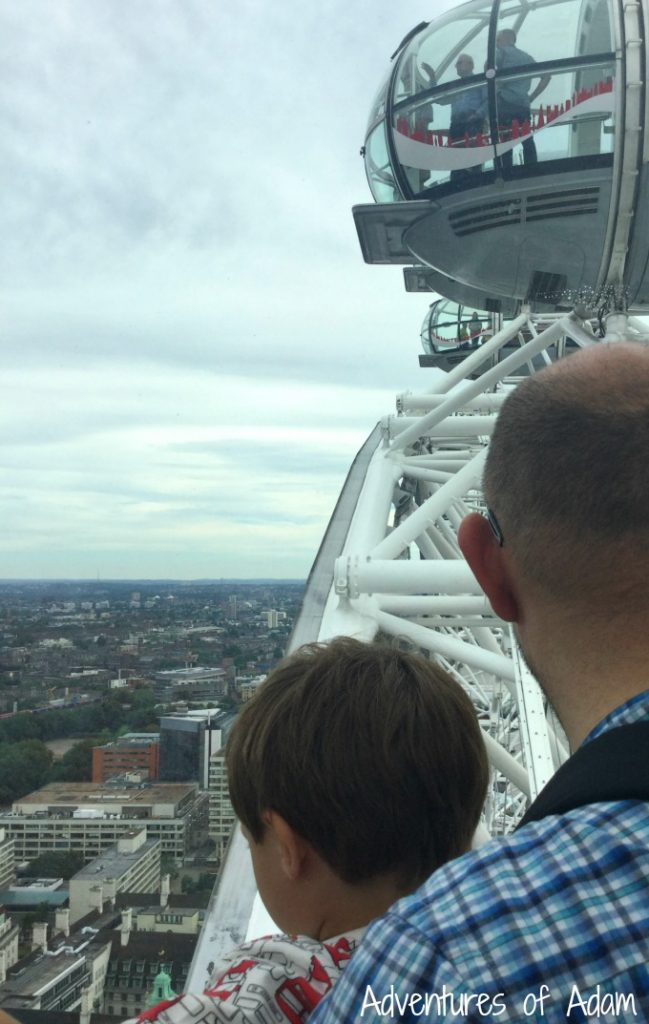 Near the top of the London Eye