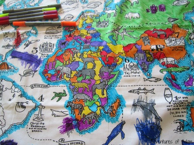 Colour And Learn World Map Pillowcase