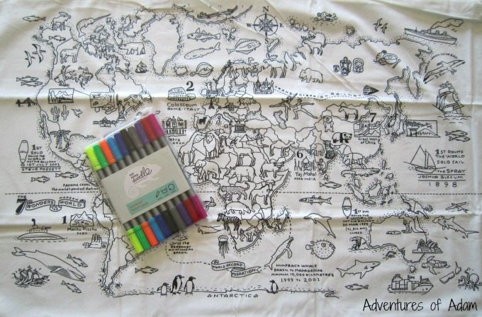 Colour in world map pillow