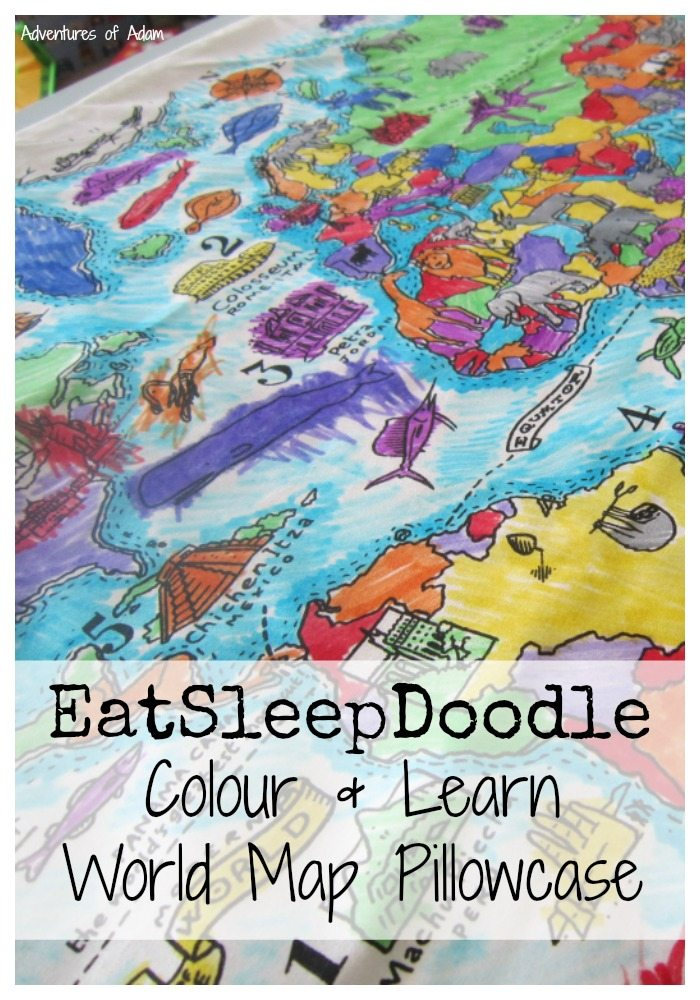 EatSleepDoodle Colour and learn world map pillow case