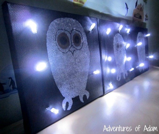 DIY light up canvas with Owl Babies