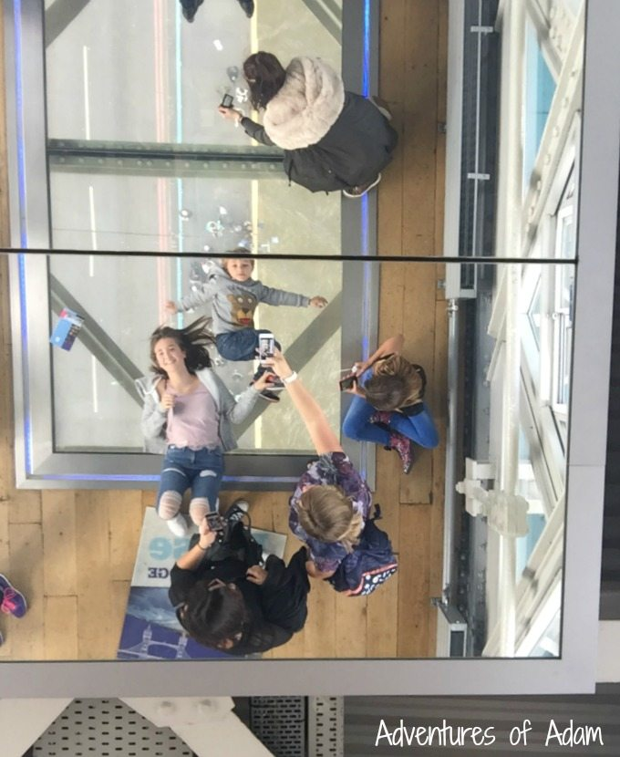 Mirror ceiling above glass floor at Tower Bridge