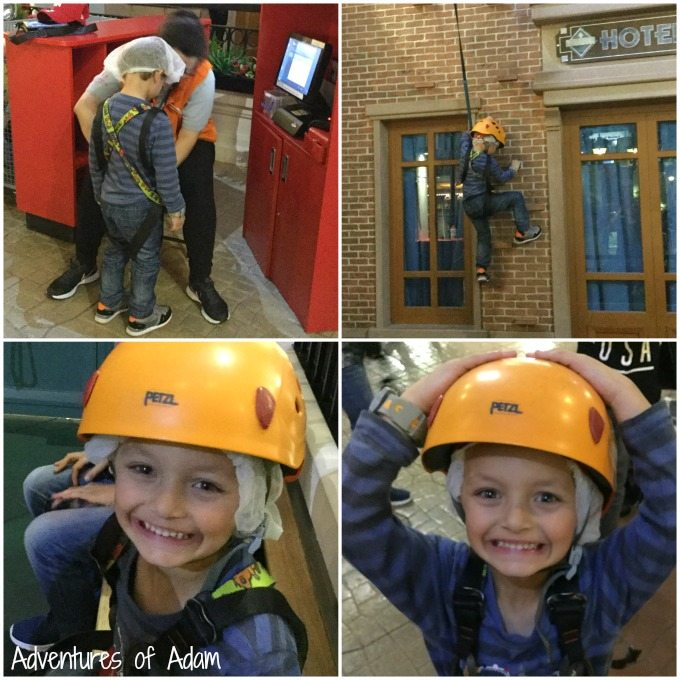 Wall climbing at KidZania
