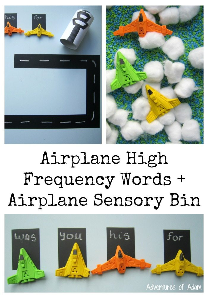 Airplane High Frequency Words and Airplane Sensory Bin