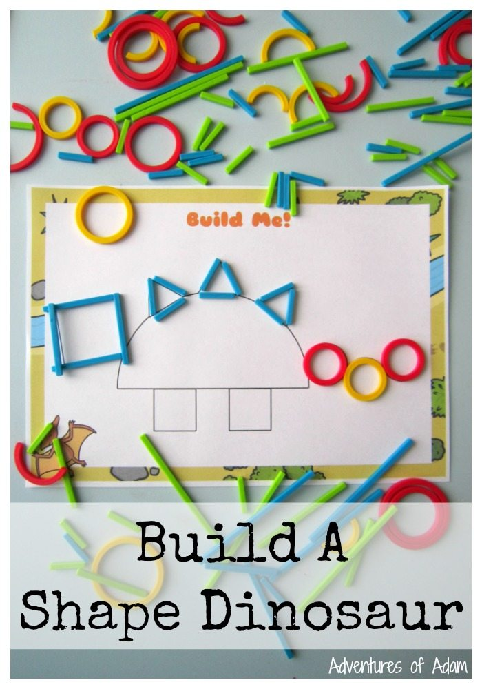 Build A Shape Dinosaur. Use Rings and Sticks from Hape to create the outline of a dinosaur. Suitable for early mathematical shape development