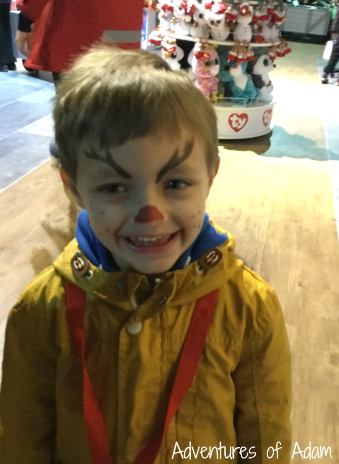 Face paints after seeing Father Christmas at Drayton Manor