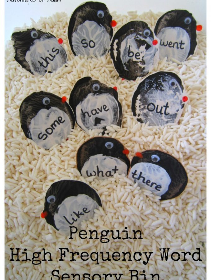 Penguin High Frequency Word Sensory Bin