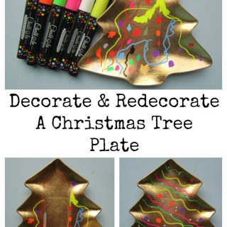 Decorate and Redecorate A Christmas Tree Plate with Chalkola pens