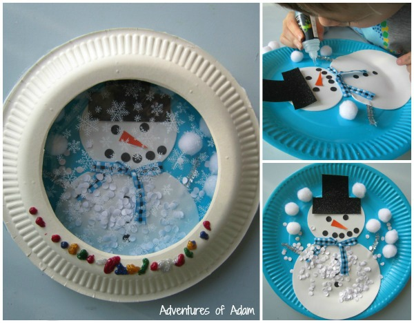 How to make a paper plate snowglobe