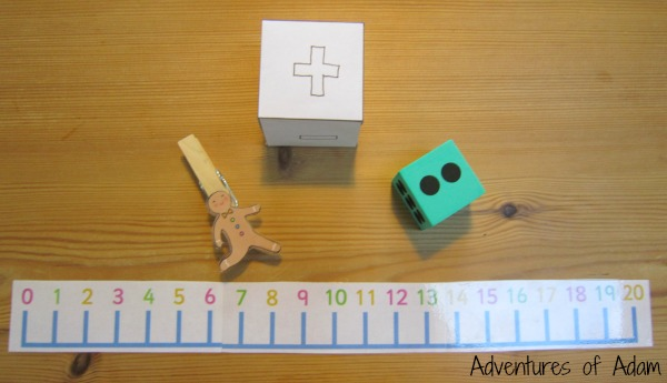 Materials needed to make the Gingerbread Man Number Line Game