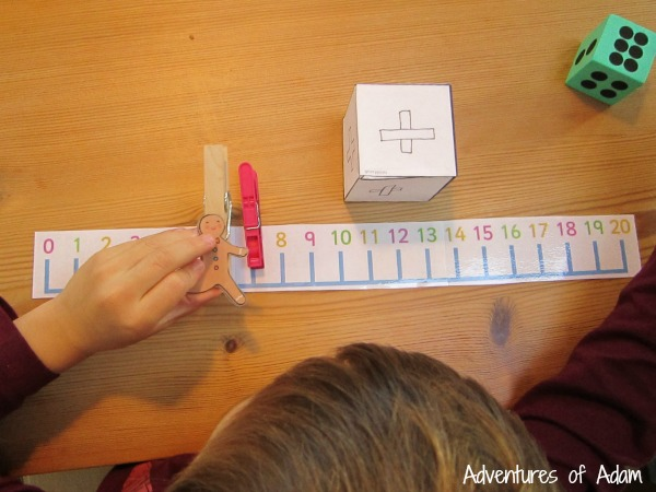 Number line game with Gingerbread Man