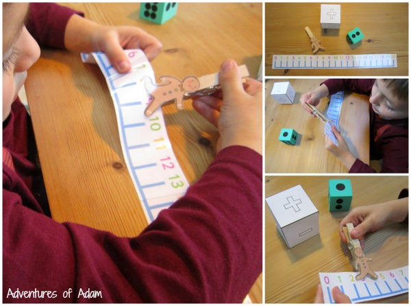 Simple addition and subtraction Gingerbread Mad number line