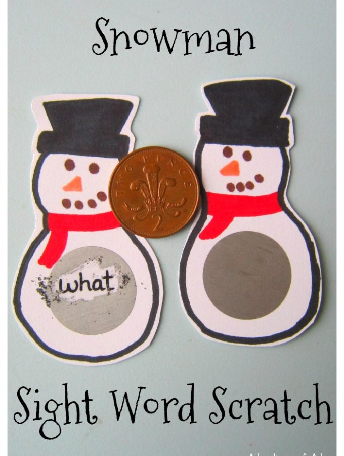 Snowman Sight Word Scratch