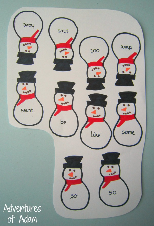 Snowman sight words