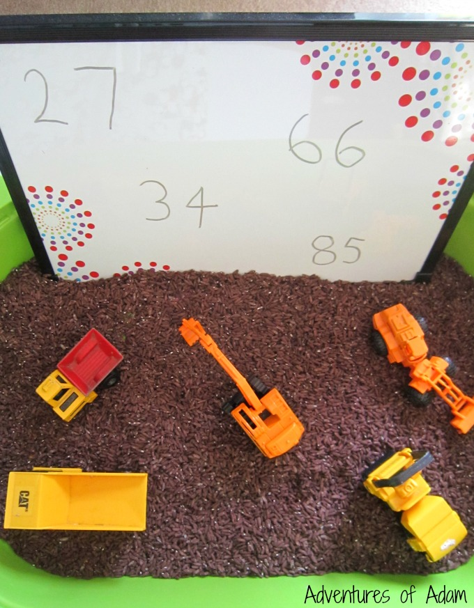 Two digit number sensory play