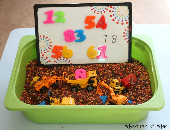 two digit Number Sensory Bin