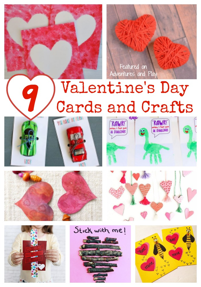 9 Valentine's Day Cards and Crafts featured on Adventures and Play