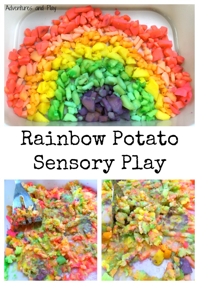 Taste Safe Rainbow Potato Sensory Play