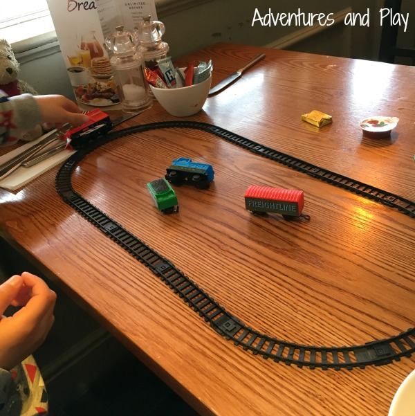 Train set busy bag at a restaurant