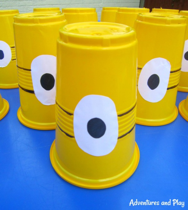 Minion cups for sensory play