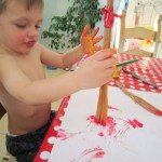 Adventures of Adam Toddler painting with pasta