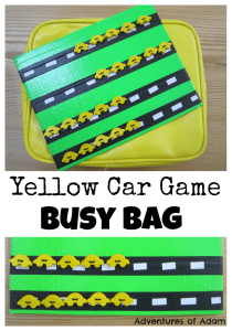 Adventures of Adam Yellow Car Game Busy Bag Adventures of Adam