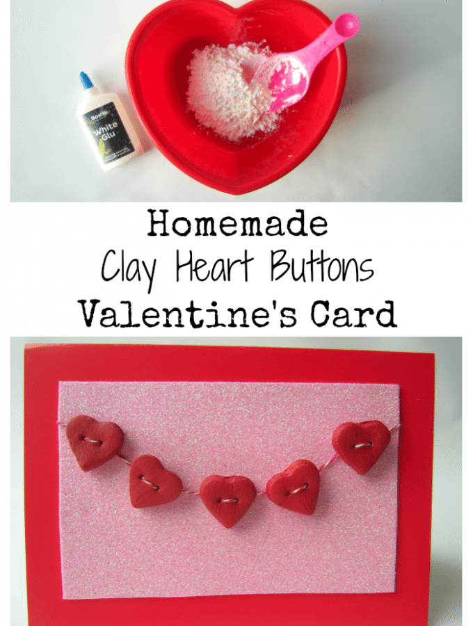 Clay Heart Buttons Valentine's Card