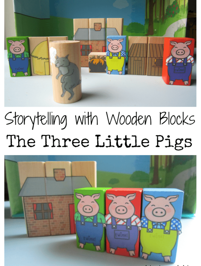 Storytelling with Wooden Blocks Three Little Pigs