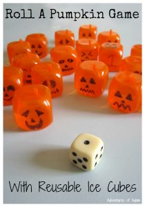 Roll A Pumpkin Game with Reusable Ice Cubes