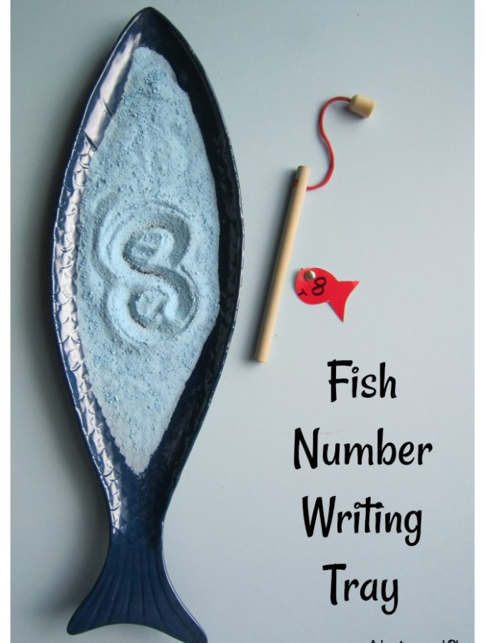 Fish number writing tray